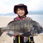 みっぴが広島湾で56.5cmの巨チヌをキャッチ/宮島 須屋の渚 (広島県廿日市市)