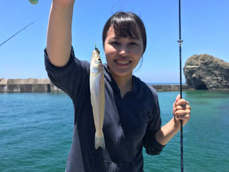ちょい投げ キス 浜田市 釣りガール1