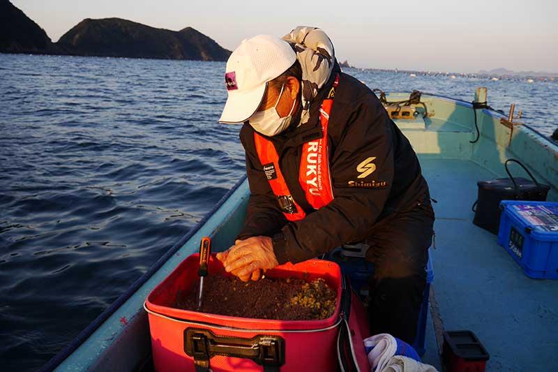 釣り開始前にダンゴ
